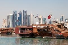 Orizzonte della città di Doha, Qatar Fotografia Stock