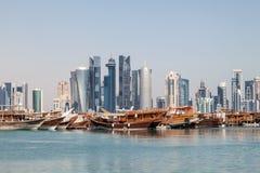 Orizzonte della città di Doha, Qatar Fotografie Stock Libere da Diritti