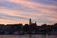 Orizzonte della città di Gloucester, Massachusetts immagini stock