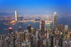 Orizzonte della città di Hong Kong Fotografie Stock
