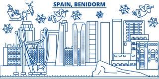 Orizzonte della città di inverno della Spagna, Benidorm Buon Natale, felice Fotografia Stock Libera da Diritti
