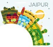 Orizzonte della città di Jaipur India con le costruzioni, il cielo blu ed il poliziotto di colore illustrazione di stock