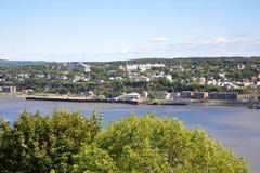 Orizzonte della città di Levis e st Lawrence River, Quebec Fotografia Stock Libera da Diritti