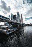 Orizzonte della città di Mosca nel giorno nuvoloso immagini stock libere da diritti