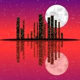 Orizzonte della città di notte Immagine Stock Libera da Diritti