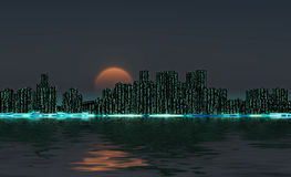 Orizzonte della città di notte illustrazione di stock