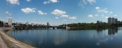 Orizzonte della città di panorama in Donec'k Fotografia Stock