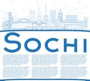 Orizzonte della città di Soci Russia del profilo con le costruzioni e la copia blu S Fotografie Stock