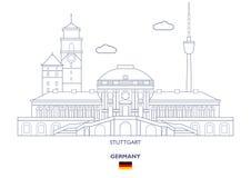 Orizzonte della città di Stuttgart, Germania Fotografia Stock Libera da Diritti