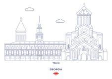 Orizzonte della città di Tbilisi, Georgia Immagine Stock