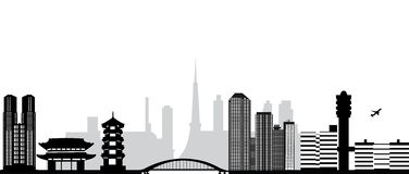 Orizzonte della città di Tokyo Immagine Stock Libera da Diritti