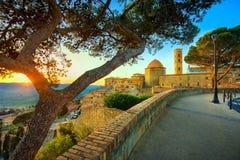 Orizzonte della città di Volterra, della Toscana, chiesa ed alberi sul tramonto ital immagini stock libere da diritti