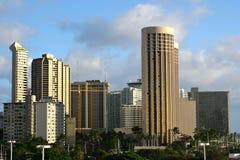 Orizzonte della città di Waikiki Immagine Stock