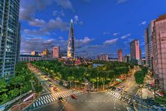 Orizzonte della città a Lotus Town Korea fotografia stock