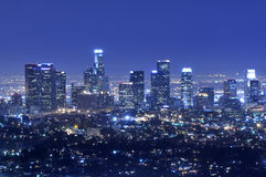 Orizzonte della città di Los Angeles alla notte Fotografie Stock Libere da Diritti