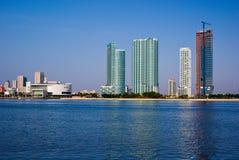 Orizzonte della parte anteriore della baia di Miami Fotografia Stock