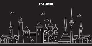 Orizzonte della siluetta dell'Estonia Città di vettore dell'Estonia, architettura lineare estone, illustrazione di viaggio di bui illustrazione vettoriale