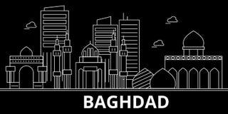 Orizzonte della siluetta di Bagdad Città di vettore di Bagdad - dell'Irak, architettura lineare irachena, costruzioni Viaggio di  royalty illustrazione gratis