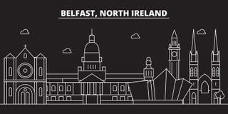 Orizzonte della siluetta di Belfast Città di vettore di Belfast - della Gran Bretagna, architettura lineare britannica, costruzio Fotografie Stock Libere da Diritti