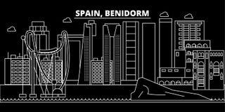 Orizzonte della siluetta di Benidorm Città di vettore di Benidorm - della Spagna, architettura lineare spagnola, costruzioni Viag Immagine Stock