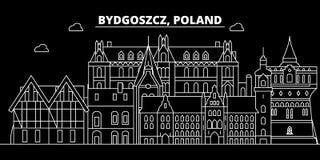 Orizzonte della siluetta di Bydgoszcz Città di vettore di Bydgoszcz - della Polonia, architettura lineare polacca, costruzioni Vi royalty illustrazione gratis