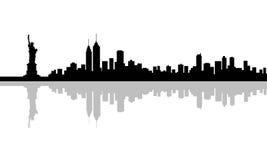 Orizzonte della siluetta di New York Immagini Stock Libere da Diritti