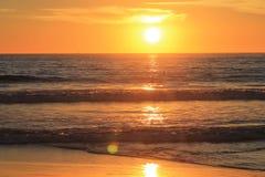 Orizzonte della spiaggia al tramonto con i surfisti Immagini Stock