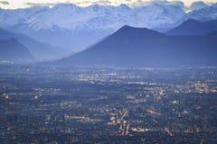 Orizzonte delle alpi di Torino fotografie stock libere da diritti