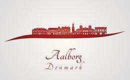 Orizzonte di Aalborg nel rosso Fotografie Stock