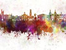 Orizzonte di Aberdeen nel fondo dell'acquerello Fotografia Stock