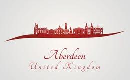 Orizzonte di Aberdeen nel rosso Immagine Stock Libera da Diritti