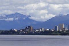 Orizzonte di Anchorage con i segni della costruzione rimossi Fotografia Stock Libera da Diritti