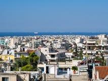 Orizzonte di Atene, vista al golfo di Saronic Fotografia Stock Libera da Diritti