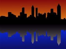 Orizzonte di Atlanta al tramonto Fotografie Stock Libere da Diritti