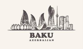 Orizzonte di Bacu, illustrazione d'annata di vettore dell'Azerbaigian, costruzioni disegnate a mano immagine stock