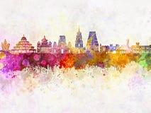 Orizzonte di Bangalore in acquerello Immagine Stock