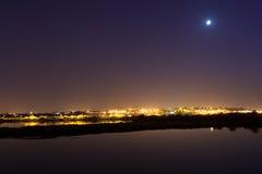 Orizzonte di Barreiro alla notte. Fotografia Stock Libera da Diritti