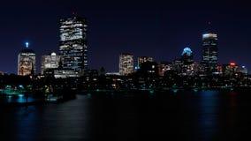 Orizzonte di Boston alla notte Fotografie Stock