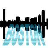 Orizzonte di Boston con il testo del dollaro Immagini Stock