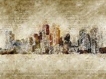 Orizzonte di Boston nello sguardo d'annata moderno ed astratto Fotografie Stock