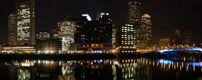 Orizzonte di Boston a panorama di notte Fotografia Stock Libera da Diritti