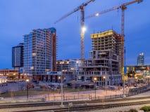 Orizzonte di Calgary alla notte Fotografia Stock