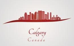 Orizzonte di Calgary V2 nel rosso Fotografia Stock Libera da Diritti
