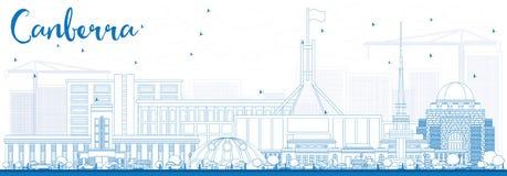 Orizzonte di Canberra del profilo con le costruzioni blu illustrazione di stock