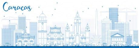 Orizzonte di Caracas del profilo con le costruzioni blu illustrazione di stock