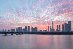 Orizzonte di Chang-Sha ed incandescenza di alba fotografia stock libera da diritti