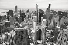 Orizzonte di Chicago in bianco e nero Fotografie Stock Libere da Diritti