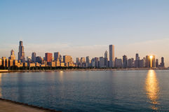 Orizzonte di Chicago del centro fotografie stock