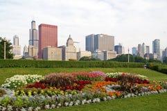 Orizzonte di Chicago del centro immagine stock