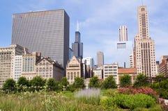 Orizzonte di Chicago del centro Fotografia Stock
